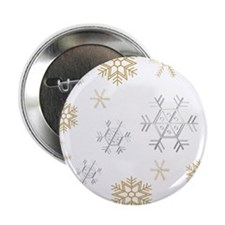 """Silver and Gold Snowflakes 2.25"""" Button"""