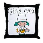 Girl Chef Throw Pillow