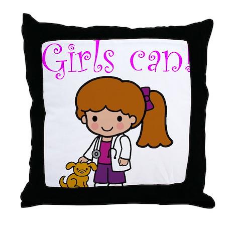 Girl Veterinarian Throw Pillow