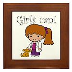 Girl Veterinarian Framed Tile