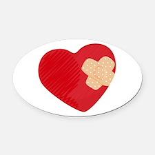 Heart Bandage Oval Car Magnet