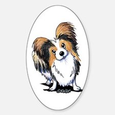 Tricolor Papillon Sticker (Oval)