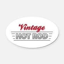 Vintage Hot Rod Oval Car Magnet