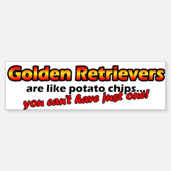 Potato Chips Golden Retriever Bumper Car Car Sticker