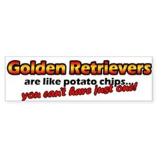 Potato Chips Golden Retriever Bumper Car Sticker