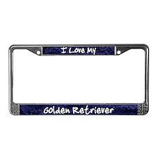 Funky Love Golden Retriever License Plate Frame