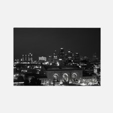 KC Union Station in Black and White Rectangle Magn
