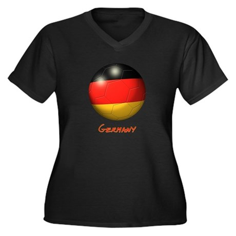 Germany Flag Soccer Ball Women's Plus Size V-Neck