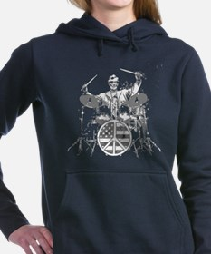 abraham lincoln playing drums Women's Hooded Sweat