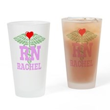 Personalized RN heart caduceus Drinking Glass