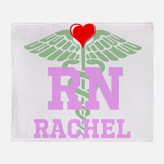 Personalized Rn Heart Caduceus Throw Blanket