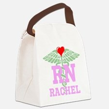 Personalized RN heart caduceus Canvas Lunch Bag