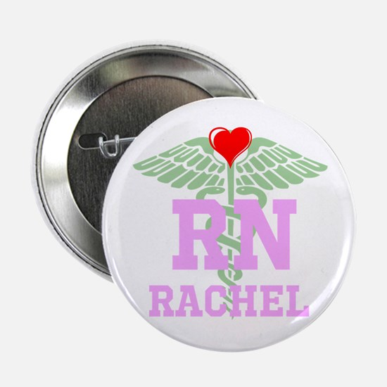 "Personalized Rn Heart Caduceus 2.25"" Button"