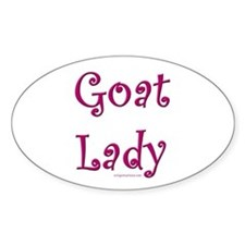 goat lady curly pink Oval Decal