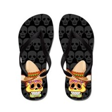 Mexico Sugar Skull with Sombrero Flip Flops