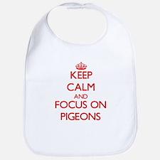 Cute I love pigeons Bib