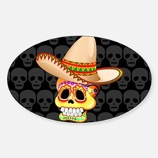 Mexico Sugar Skull with Sombrero Decal