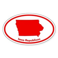 Iowa RED STATE Oval Decal