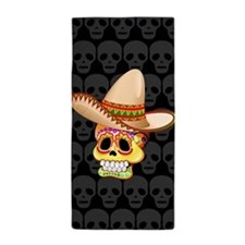 Mexico Sugar Skull with Sombrero Beach Towel