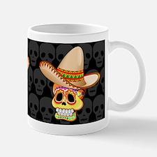 Mexico Sugar Skull with Sombrero Mugs