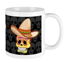 Mexico Sugar Skull with Sombrero Mugs