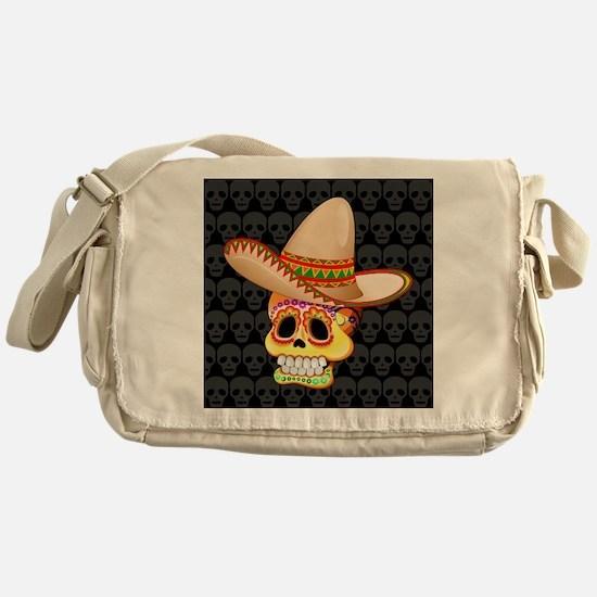 Mexico Sugar Skull with Sombrero Messenger Bag