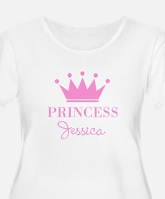 Personalized pink princess crown Plus Size T-Shirt