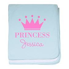 Personalized pink princess crown baby blanket
