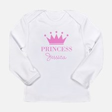 Personalized pink princess crown Long Sleeve T-Shi