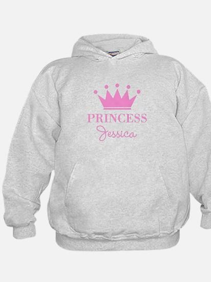 Personalized pink princess crown Hoodie