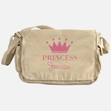 Personalized pink princess crown Messenger Bag