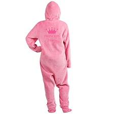 Personalized pink princess crown Footed Pajamas