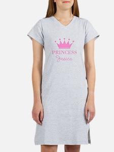 Personalized pink princess crown Women's Nightshir