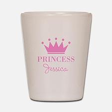 Personalized pink princess crown Shot Glass