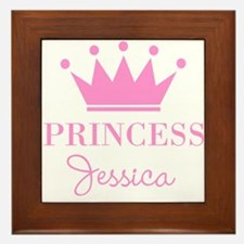 Personalized pink princess crown Framed Tile