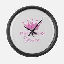 Personalized pink princess crown Large Wall Clock