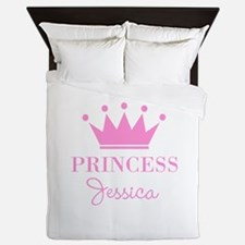 Personalized pink princess crown Queen Duvet