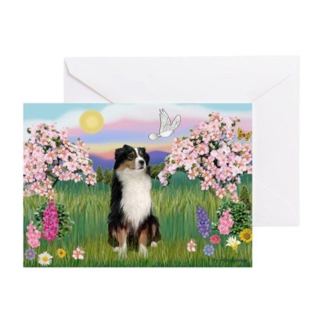 Blossoms & Aussie (#2) Greeting Cards (Pk of 10)