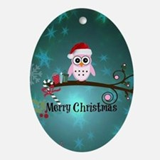 Cute Owl cartoon Oval Ornament