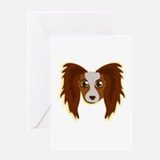 Papillion Head Greeting Cards