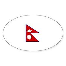 nepal flag Oval Decal