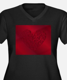 Dark Red Heart Background Plus Size T-Shirt