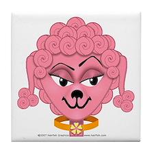 """""""Big Pink Poodle-Head"""" Tile Coaster"""