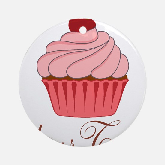 Personalizable Pink Cupcake Ornament (Round)