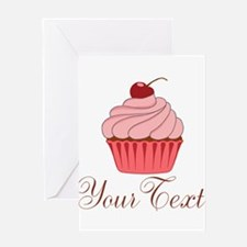 Personalizable Pink Cupcake Greeting Cards