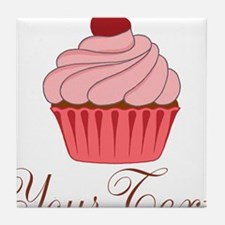 Personalizable Pink Cupcake Tile Coaster