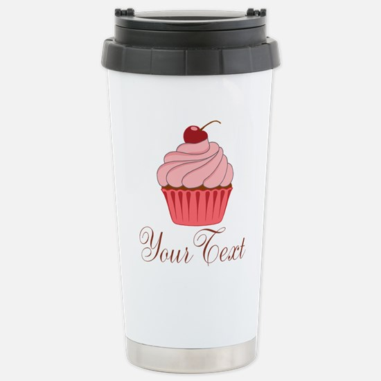 Personalizable Pink Cupcake Travel Mug