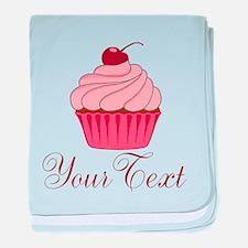 Personalizable Pink Cupcake baby blanket