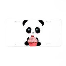 Panda Bear Cupcake Aluminum License Plate