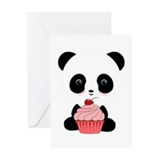 Panda Bear Cupcake Greeting Cards